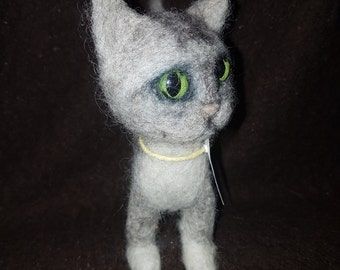 Needle felted ooak Grey Kitten