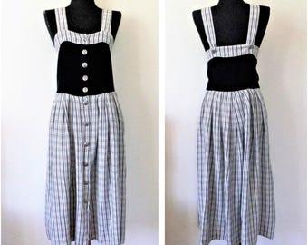 Dirndl Dress, Chechered Dirndl, Button Up Front Dirndl Dress, Folk Line, German Dirndl, Octoberfest Clothing, Size DE 42, US 12
