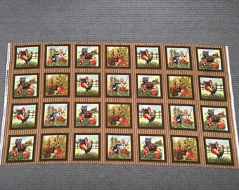 Cat fabric panel. Rooster fabric. Farm quilting cotton. Pumpkin fabric quilting squares. Cardinal. Fall. Kitten quilt block. Autumn Bounty.