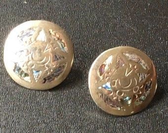 Vintage Abalone Inlay Sterling Silver Screw Back Earrings Mexico Signed ETC Round Disk Mexican 925 Modern MCM