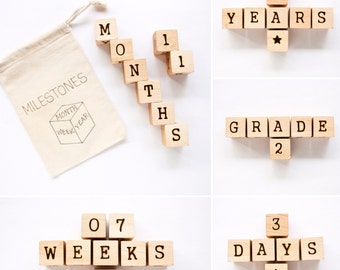 Milestone Blocks / Age Blocks / Wood Baby Blocks / Baby Photo Prop / Pregnancy Photo Prop
