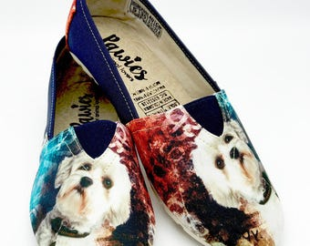 MALTESE SHOES, Maltese, animal lovers, woman shoes, dog breeds, shoes for women, pet lovers, flat shoes, hush puppies, dog shoes, footwear