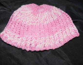 Child's Alpaca Hat, Pink with White