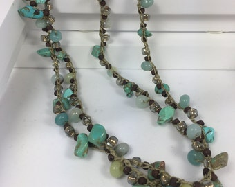 """Amazonite, Teal Magnesite, Opaque Oxblood  Seed Bead, Gold Lined Seed Bead, Turquoise Closure,  Antique Brown Cotton Cord. """"Reflection"""""""