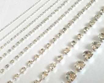 2 Meters Sew Stitch on Diamante Rhinestone Crystal Rope Chain Trim 4.5mm