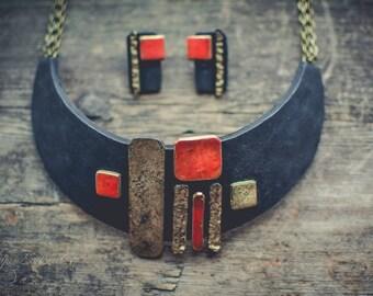 Statement necklace Bib necklace black red gold necklace geometry necklace polymer clay necklace  large Аsymmetric necklace jewelry set