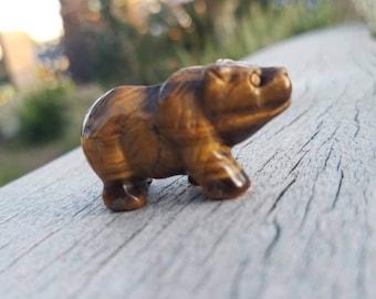 Tiger's Eye Bear Carving - Stone Carving - Bear Carving