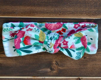 Floral Headband, Spring Headband, Top Knot Headband, Baby Headband, Toddler Headband, Adult Headband, Multicolor Floral Headband, Adjustable