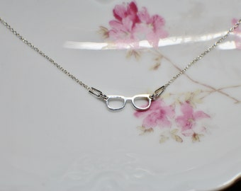 sterling silver glasses necklace