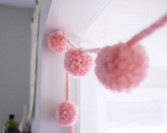 Pale Pink Wool Pom Pom Garland | Super Bulky | Large