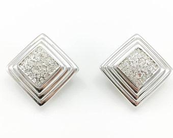 Dior Art Deco Style Diamanté Embellished Stepped Lozenge Earrings - 1980's