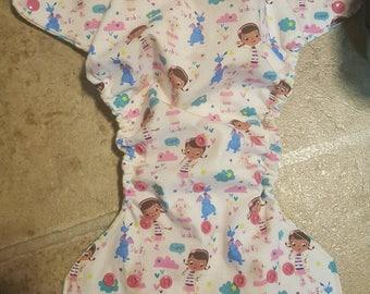 Medium, pink Doc Mcstuffins  and friends pocket cloth diaper