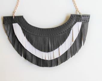 Black and White Leather Bib Necklace, Fringed Leather Bib Necklace, Fringed Necklace