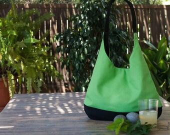 Green hobo bag.  Slouch bag. Green hobo bag purse. Shoulder bag. Summer bag.