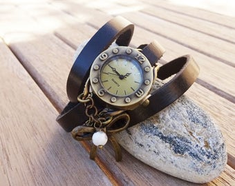 Bow tie watch with black and white beads, ladies custom watch