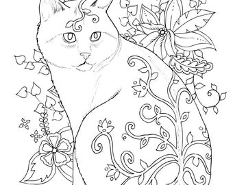 Cat coloring page  Etsy