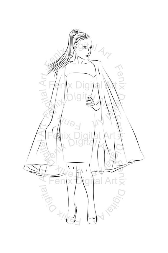 Line Art Fashion : Digital stamp clipart line art fashion lady girl