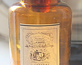 Vintage Apothecary Jar/Bottle, Amber Glass, Pharmacy Jar, Replaced Label