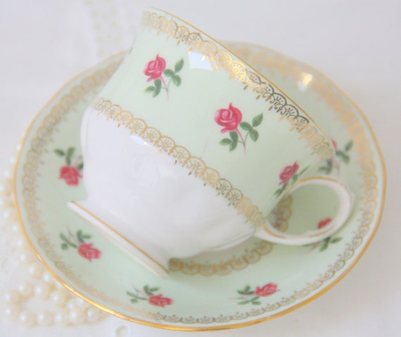 Vintage Queen Anne Bone China Large Cup and Saucer, Soft Green with Rose Pattern, England