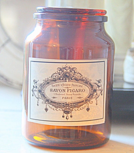 Vintage Apothecary Jar, Amber Glass, Pharmacy Jar, Replaced Label