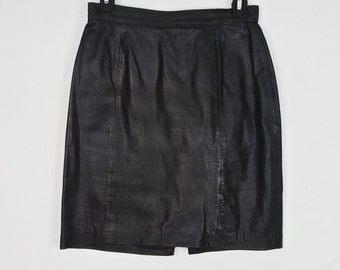 6/7 Vintage Black Leather Pencil Skirt Brooks Atelier High Waist Zipper Back Tight Fitted Skirt Above Knee Length 90s Fashion