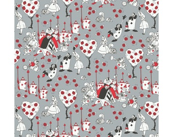 Alice in Wonderland - Queen of Hearts Painting the Roses Red- Cotton Fabric by the Half Yard