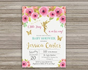 Fairy Baby Shower Invitation, Pink and Gold Baby Shower, Enchanted Baby Shower, Fairy Princess Invitation, Floral Baby Shower Invitation