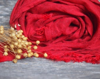 Linen Scarf, Bright Red Linen Scarf, Women Linen Accessories