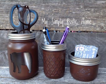 Bear Mason Jar Desk Set-Cabin Desk Set-Hunting Lodge-Mason Jar Office Organizer-Desk Set-Mason Jar Set--Desk Decor-Desk Set-business card
