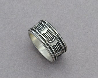 Octane Ring Sterling Silver Statement Ring Men's Wedding Band Gear Ring Geometric Ring Chevron Pattern Ring