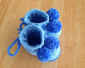 Blue Baby Boots with Pom-Poms