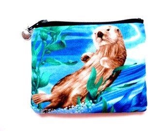 coin purse made from sea otter fabric
