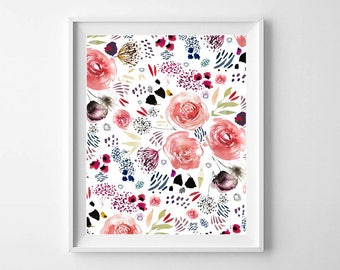 Floral Watercolor Art, Floral Art Print, Floral Watercolor, Watercolor Art, Floral Watercolor Print, Floral Poster, Floral Painting