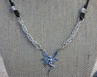 Fantasy Necklace Sterling Silver Byzantine Chain Chainmail Necklace Fairy Pendant - Renaissance Necklace - Fairy Necklace - Silver Necklace