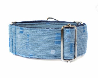"Horizon, dog collar, blue, monochrome, wide sighthound collar, 2"" martingale, 1.4"" martingale"