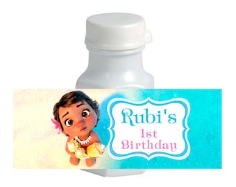 30 Baby Moana Birthday Mini Bubble labels