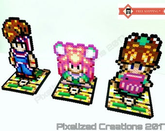 Secret of Mana RPG Videogame 3 Piece Desk Buddies Set with Stands: Set includes Randi, Primm and Popoi (Desk/Shelf/Office Decorations)