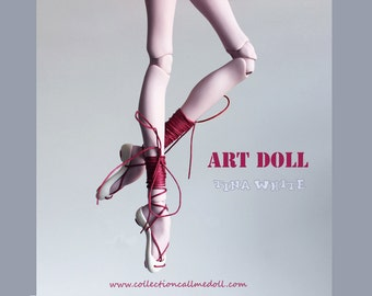 BJD classic ballerina Shoes with laces / for ooak art doll / red and white color