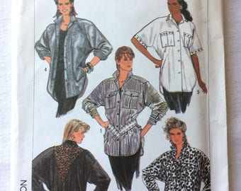 Vintage 1987 UNCUT New Simplicity 8355 Misses Size 10, 12, and 14 Loose-Fitting Shirt Pattern