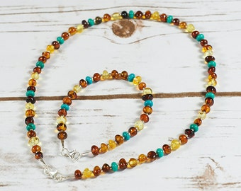 Baltic Amber Set Amber Necklace Bracelet Set 100% Natural Genuine Turquoise Set Amber and Turquoise Necklace Set Amber Collar Choker BN004