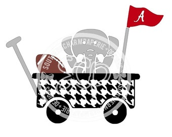 Houndstooth Baby Wagon Baby Elephant Football Pennant Alabama Inspired SVG DXF Cut File Bama Fans Football Crimson Tide Inspired Elephant
