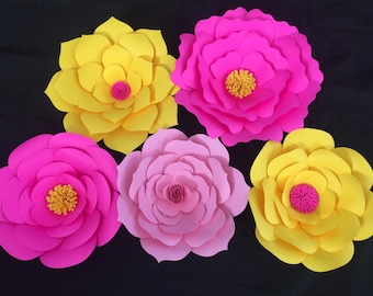 Set of 5 medium handmade paper flowers assorted shapes and colors for backdrops party and event decor  wall hangings