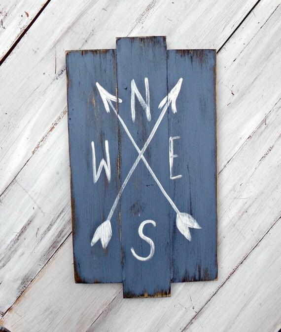 Transitional Nursery With Rustic Wood Wall: Wood Compass Sign Rustic Nursery Decor Woodland Nursery