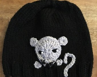 Sweet little grey mouse on a black hat, hand knit, and ready to ship