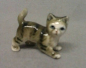 Grey and Beige Cat with Stripes Small Cat Figurine