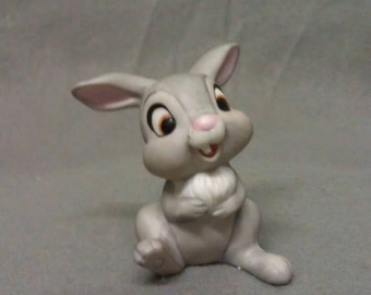 Disney Grey and Beige Rabbit with pink Ears Nose and Mouth with Black Eyes Rabbit Figurine
