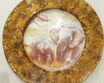 Round Glass Decoupage Plate/ Elephant/ African style/ Plate in Decoupage technique/ Animal Plate