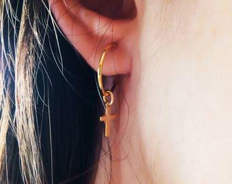 Cross hoop earrings, Cross-shaped earrings, Rock cross earrings, Gold hoop earrings, Minimal earrings, Gold cross hoop earrings, Under 20