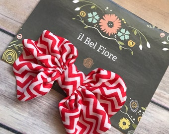 Red White Bow Hair Clip, Hair Barrette, Baby Infant Child Toddler Girl Hair Clip, Hair Flower, Clip On Flower, Flower Hair Clip