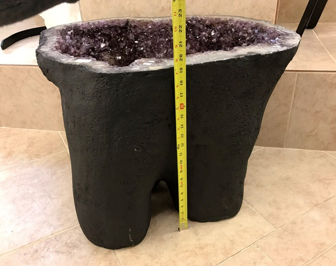 """Amethyst Table Crystal Geode- 20"""" tall- High Grade AAA Amethyst Crystals from Brazil- 230 LBS Home Decor \ Amethyst Crystal \ Amethyst Table"""